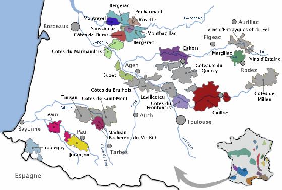 carte touristique sud ouest Oenotourisme Sud ouest. Tourisme et vins dans le sud ouest